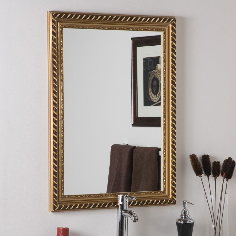 Decor Wonderland Marina 23.6-in x 31.5-in Gold Rectangular Framed Bathroom Mirror