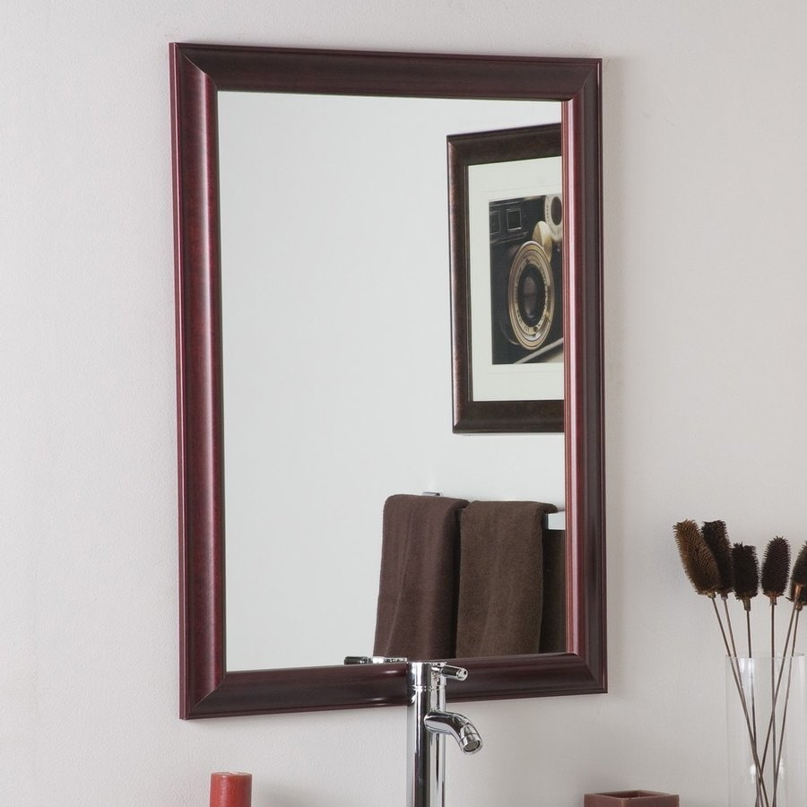 Decor Wonderland London 12.12-in Mahogany Rectangular Bathroom Mirror