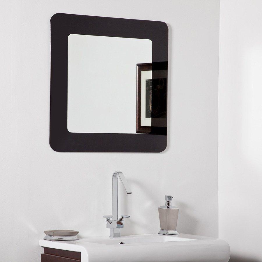 Decor Wonderland Ella 27.6-in x 27.6-in Black Square Framed Bathroom Mirror