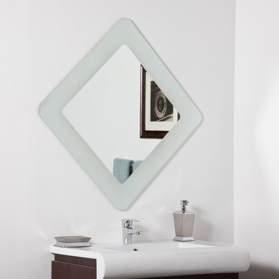 Shop Decor Wonderland Bella 27 6 In X 27 6 In Frosted Square Framed Bathroom Mirror At