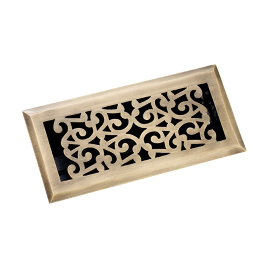 Zoroufy Scroll Antique Brass Solid Brass Floor Register (Rough Opening: 3.875-in x 9.875-in; Actual: 5.25-in x 11.38-in)