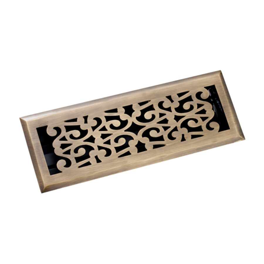 Zoroufy Scroll Antique Brass Solid Brass Floor Register (Rough Opening: 3.875-in x 13.75-in; Actual: 5.13-in x 14.75-in)