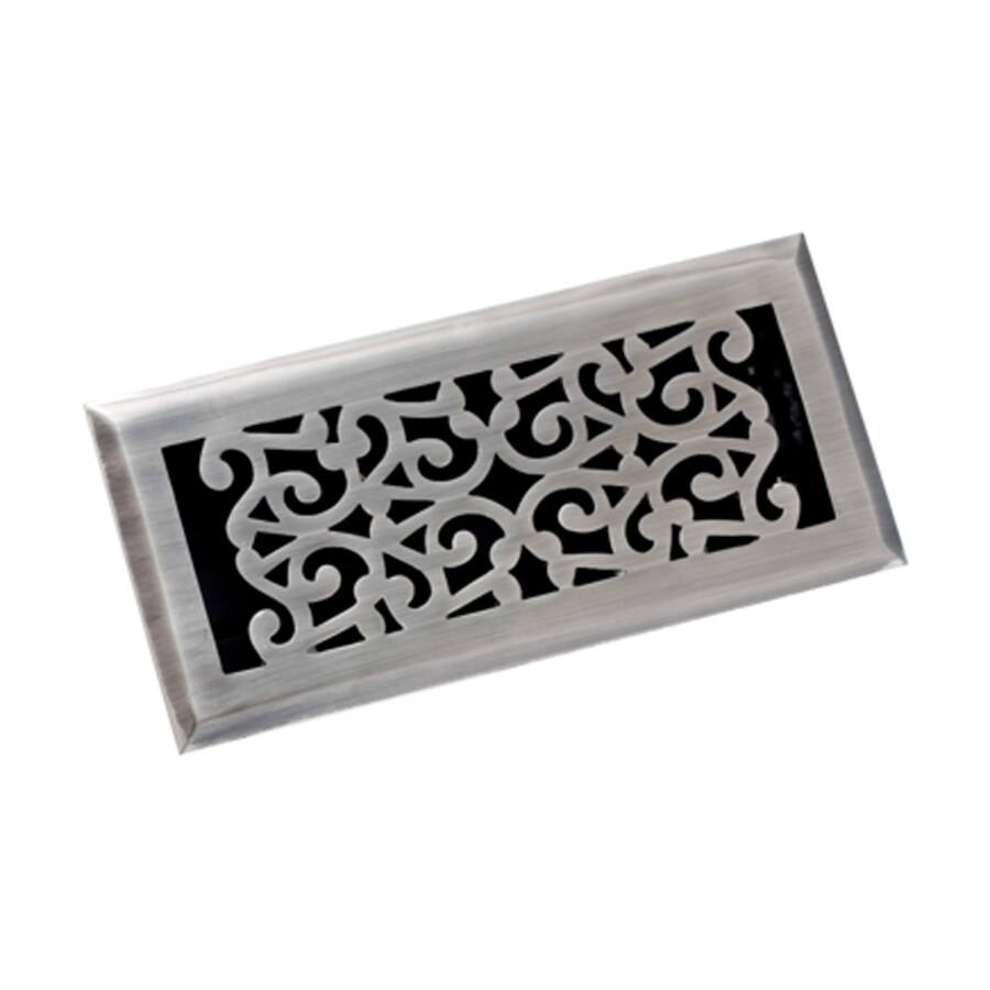 Zoroufy Scroll Antique Pewter Solid Brass Floor Register (Rough Opening: 3.875-in x 9.875-in; Actual: 5.25-in x 11.38-in)