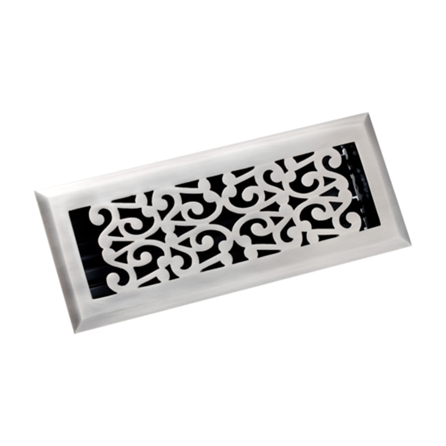 Zoroufy Scroll Antique Pewter Solid Brass Floor Register (Rough Opening: 3.875-in x 11.875-in; Actual: 5.13-in x 12.75-in)