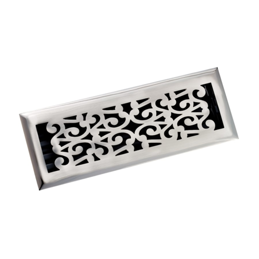 Zoroufy Scroll Antique Pewter Solid Brass Floor Register (Rough Opening: 3.875-in x 13.75-in; Actual: 5.25-in x 11.38-in)