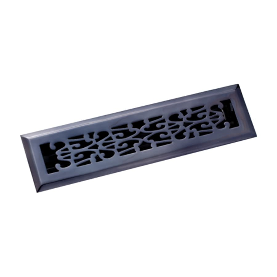 Zoroufy Scroll Antique Black Solid Brass Floor Register (Rough Opening: 2.125-in x 11.875-in; Actual: 3.38-in x 13.25-in)