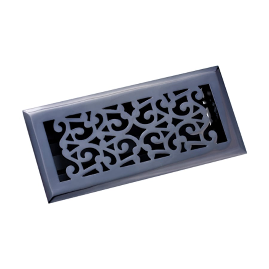 Zoroufy Scroll Antique Black Solid Brass Floor Register (Rough Opening: 3.875-in x 9.875-in; Actual: 5.25-in x 11.38-in)