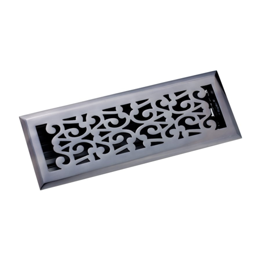 Zoroufy Scroll Antique Black Solid Brass Floor Register (Rough Opening: 3.875-in x 13.75-in; Actual: 5.13-in x 14.75-in)