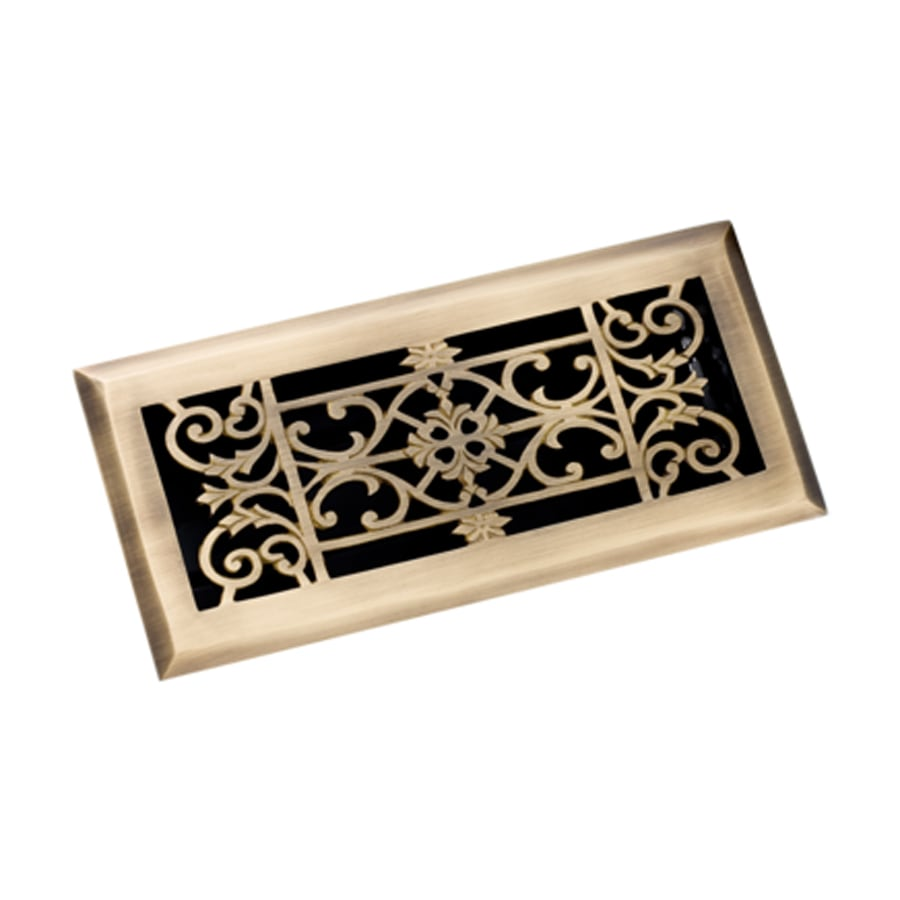 Zoroufy Decorative Antique Brass Solid Brass Floor Register (Rough Opening: 3.875-in x 9.875-in; Actual: 5.25-in x 11.38-in)