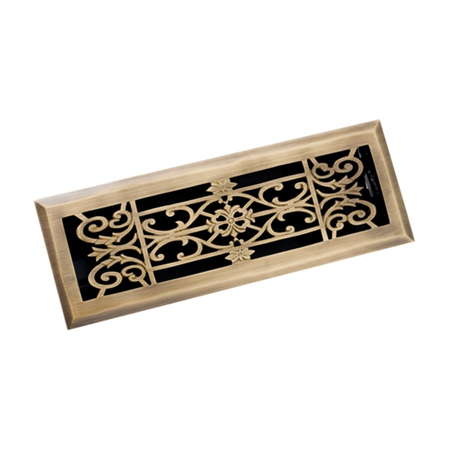Zoroufy Decorative Antique Brass Solid Brass Floor Register (Rough Opening: 3.875-in x 13.75-in; Actual: 5.13-in x 14.75-in)
