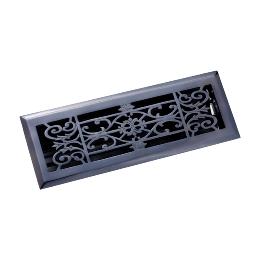 Zoroufy Decorative Antique Black Solid Brass Floor Register (Rough Opening: 3.875-in x 13.75-in; Actual: 5.13-in x 14.75-in)