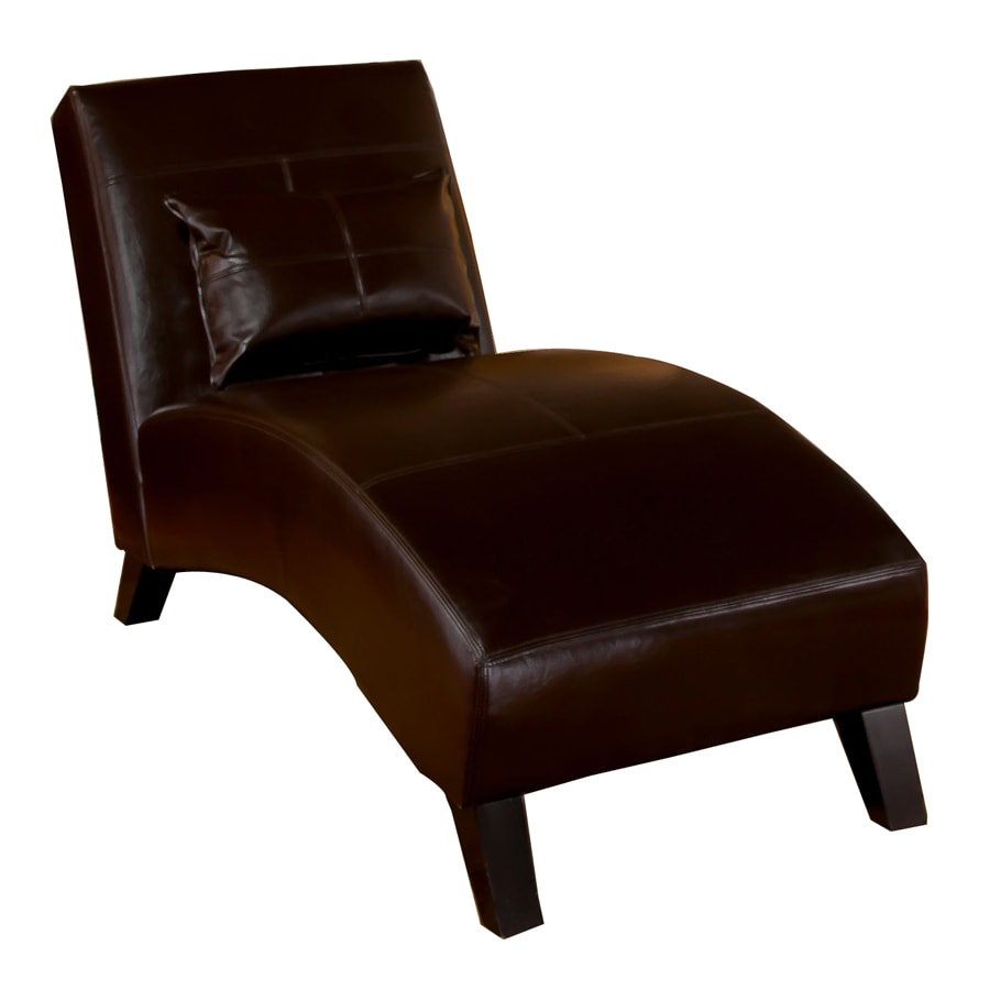 Shop best selling home decor charlotte casual brown faux for Brown leather chaise lounge