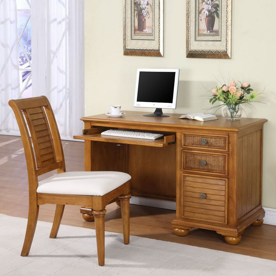 Hospitality Rattan Ships Wheel Light Brown Computer Desk