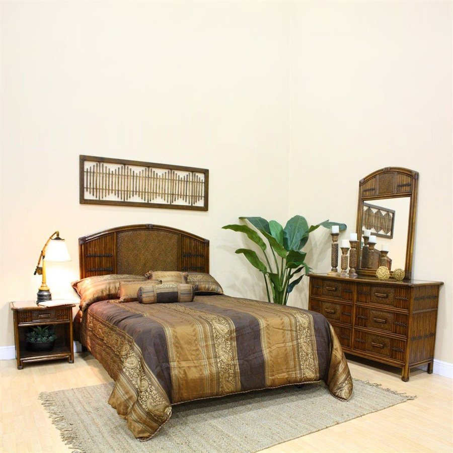Hospitality Rattan Polynesian 4-Piece Queen Bedroom Set At