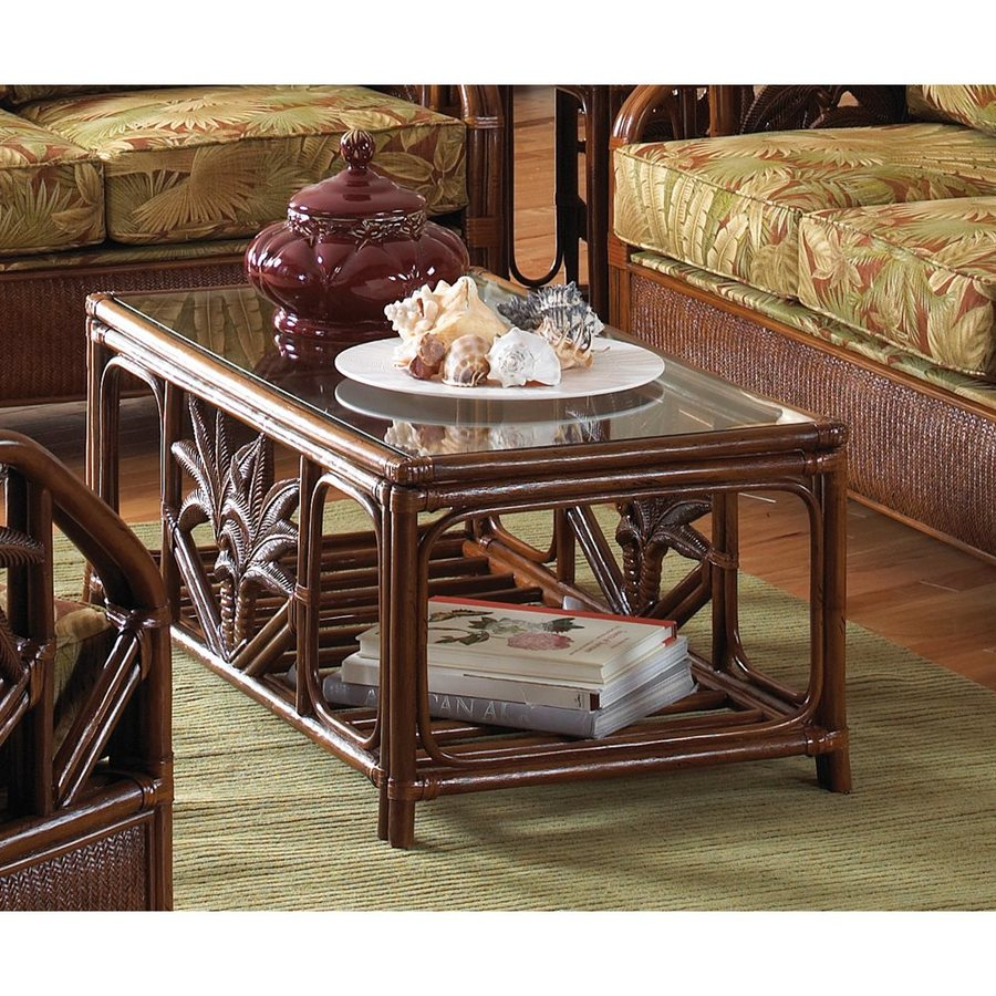 Hospitality Rattan Cancun Palm TC Antique Rectangular Coffee Table