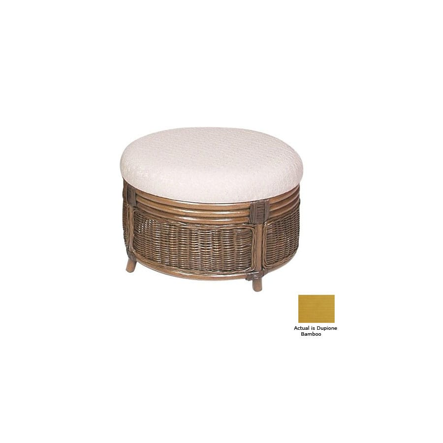 Hospitality Rattan Legacy Dupione Bamboo Round Ottoman At