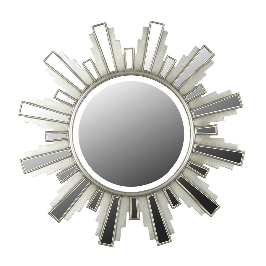 Kenroy Home Francisco Antique Silver Beveled Round Wall Mirror