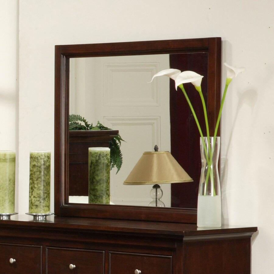 Homelegance Glamour 39-in x 32.5-in Espresso Polished Rectangle Framed Transitional Wall Mirror