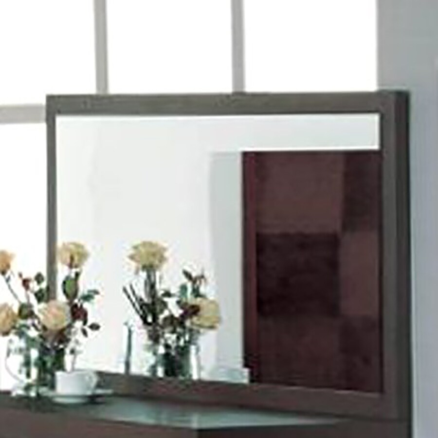 BH Design Traxler 55-in x 28-in Walnut Rectangular Framed Wall Mirror