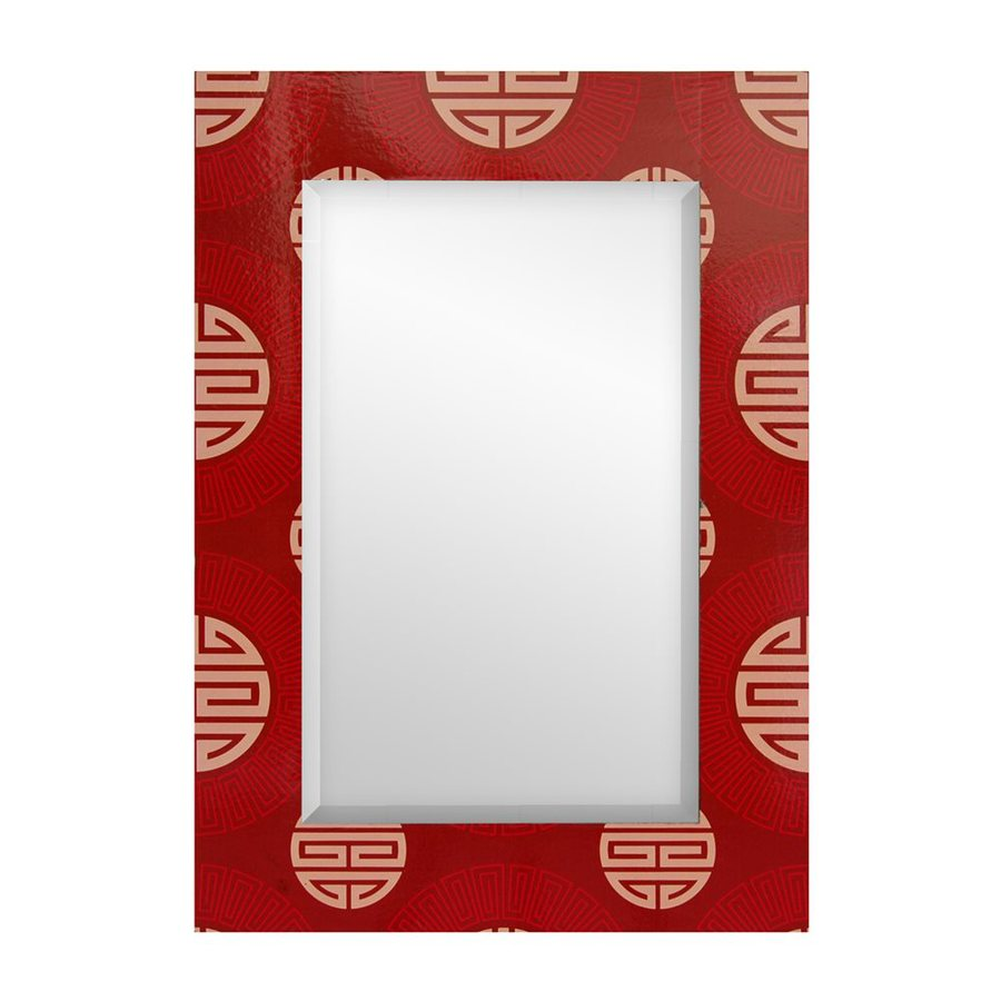 Oriental Furniture Shou Red Beveled Wall Mirror
