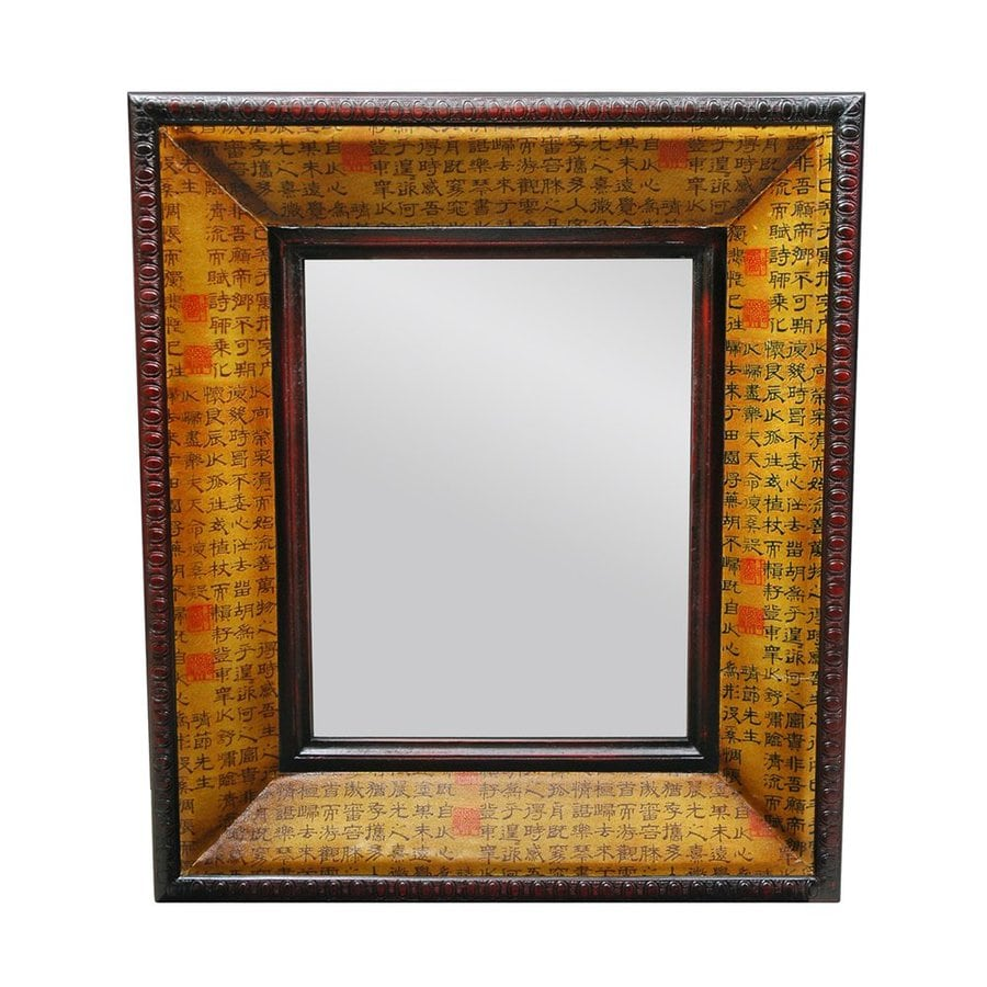 Oriental Furniture Chinese Art Design 27-in x 31-in Yellow Polished Rectangular Framed Wall Mirror
