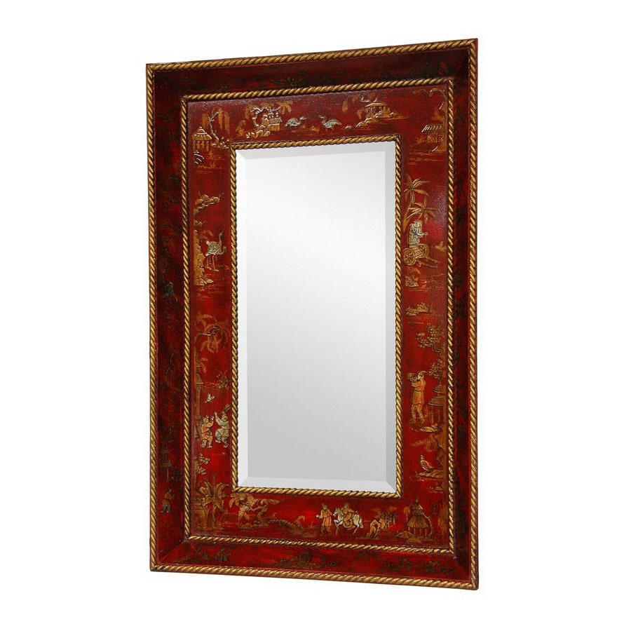 Shop Oriental Furniture 22 In X 335 In Red Lacquer Rectangle Framed