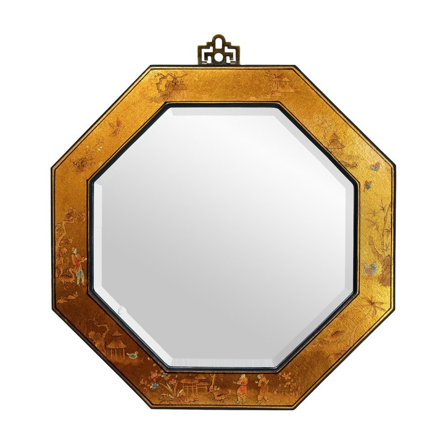 Oriental Furniture Lacquer Gold Leaf Beveled Octagon Wall Mirror