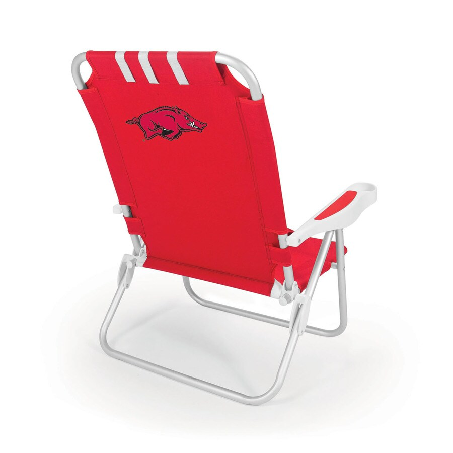 Picnic Time Red NCAA Arkansas Razorbacks Steel Folding Beach Chair