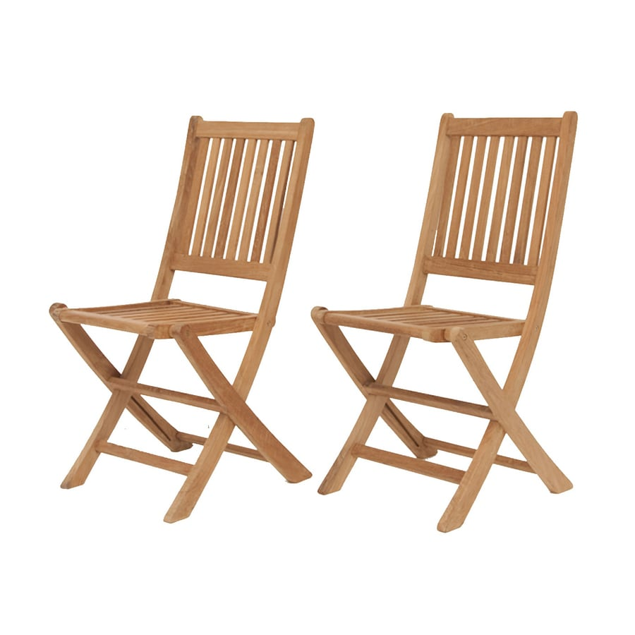 International Home Yogya 2-Count Teak Folding Patio Dining Chairs