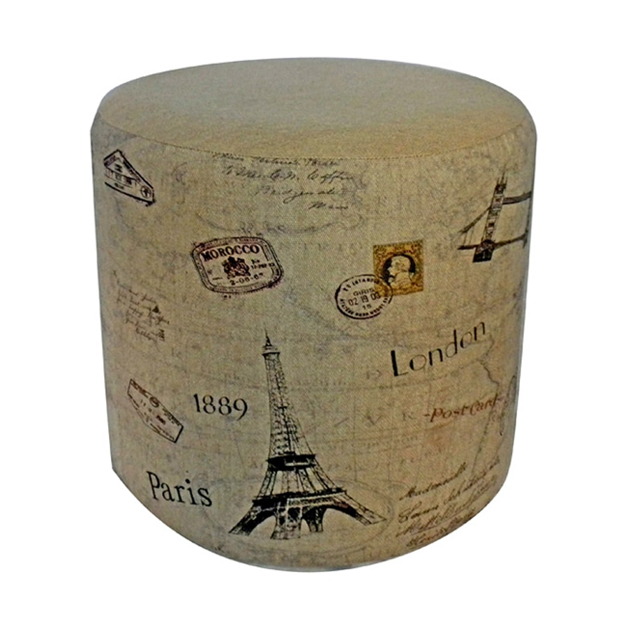 Cheung's Carte Postal Canvas Round Ottoman