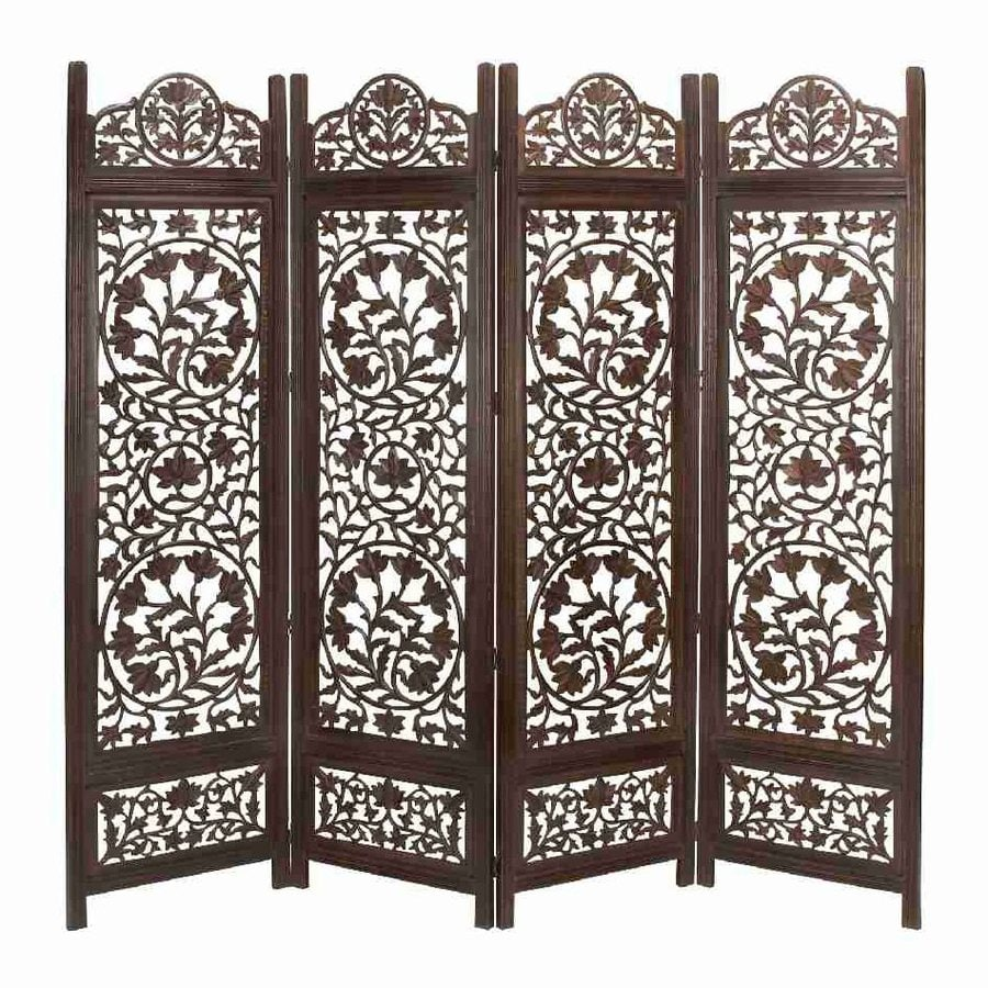 Shop Woodland Imports 4-Panel Dark Walnut Wood Folding Indoor ...