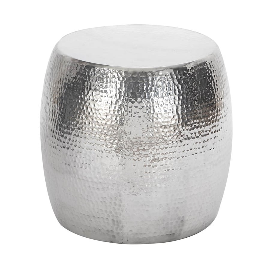 Woodland Imports Vintage Inspired 16-in Silver Aluminum Barrel Garden Stool  sc 1 st  Loweu0027s : hammered drum stool - islam-shia.org