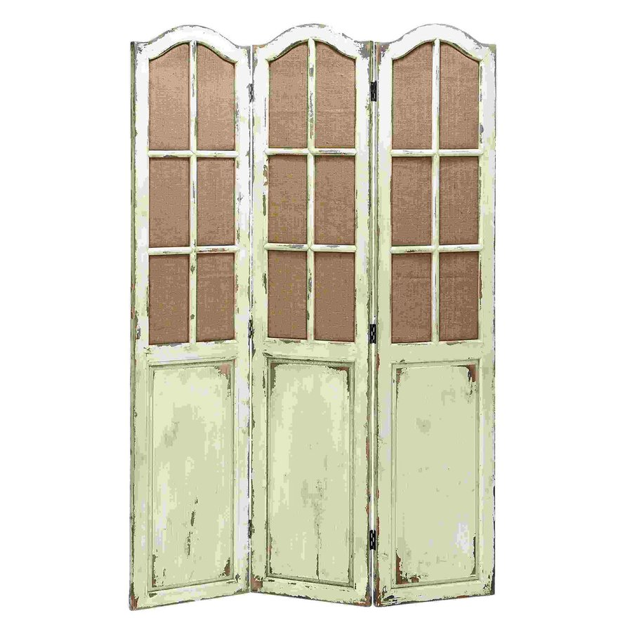 Shop woodland imports 3 panel distressed antique white for Retractable privacy screen
