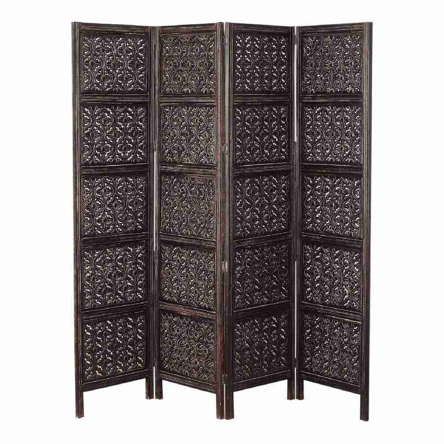 Woodland Imports 4-Panel Expresso Wood Folding Indoor Privacy Screen