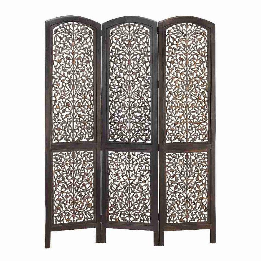 Shop Woodland Imports 3 Panel Dark Walnut Wood Folding