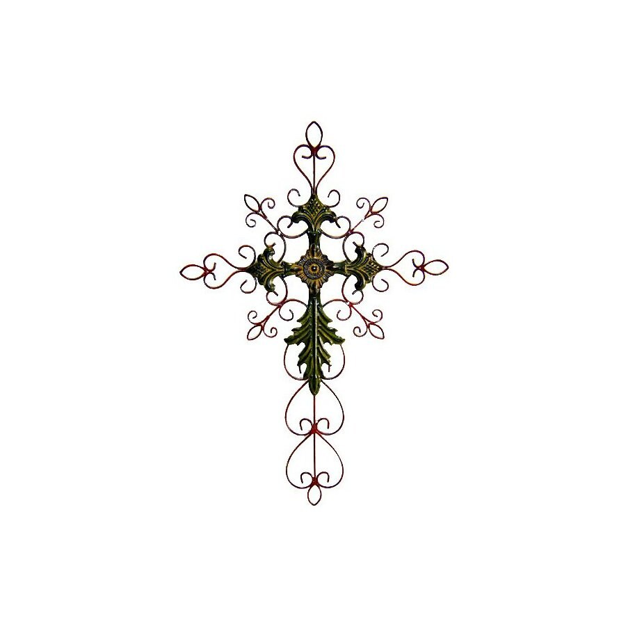 Cheung's 18.75-in W x 28-in H Frameless Metal Cross with Scroll Design Sculptural Wall Art