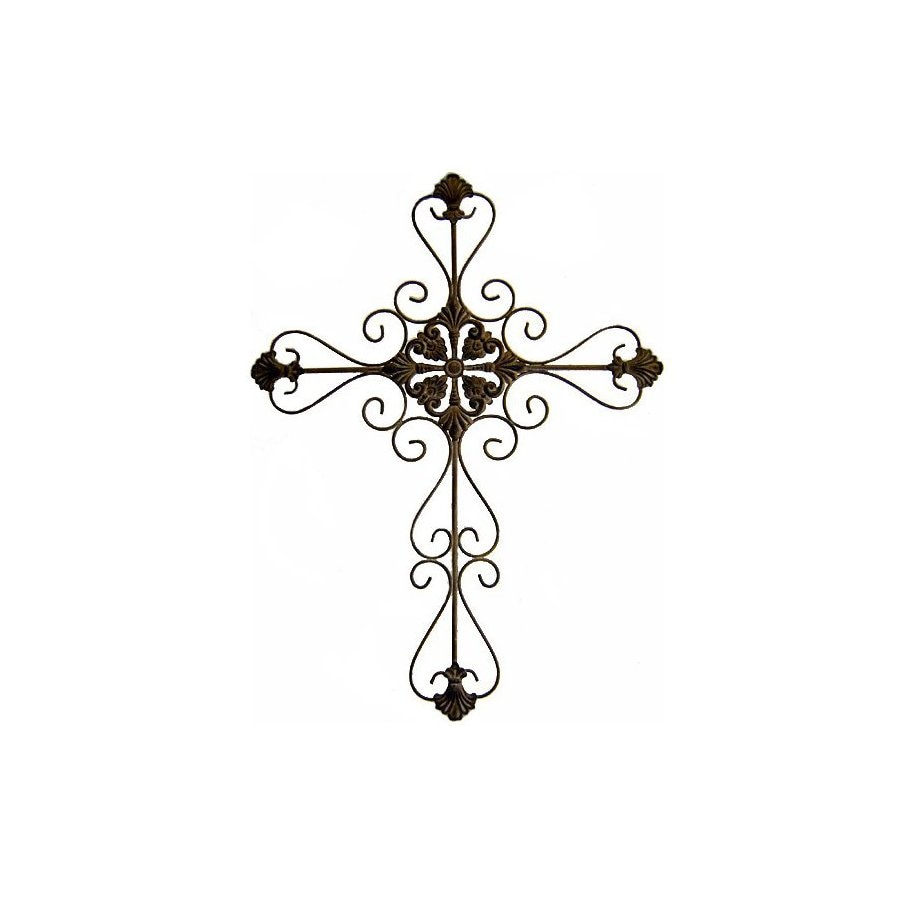 Cheung's 25-in W x 33-in H Frameless Metal Cross with Scroll Design Sculptural Wall Art