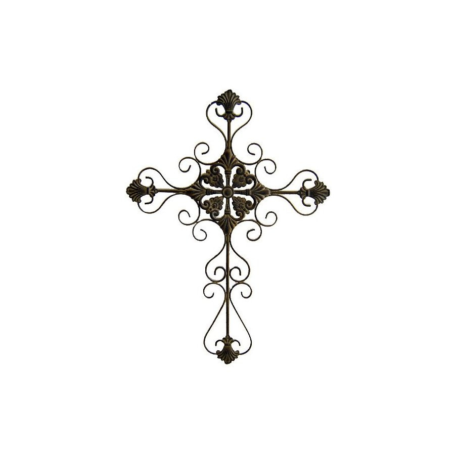 Cheung's 21-in W x 28.75-in H Frameless Metal Cross with Scroll Design Sculptural Wall Art