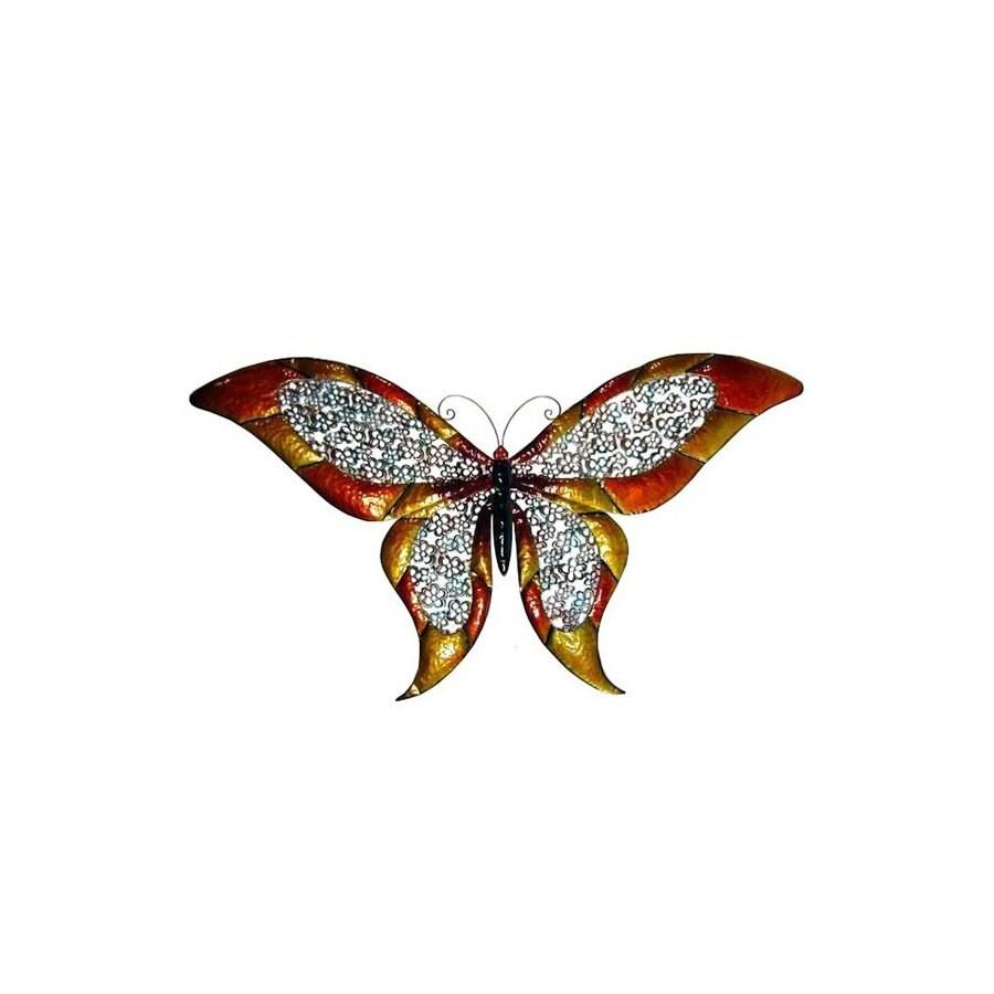 Cheung's 51.5-in W x 28-in H Frameless Metal Butterfly Sculptural Wall Art