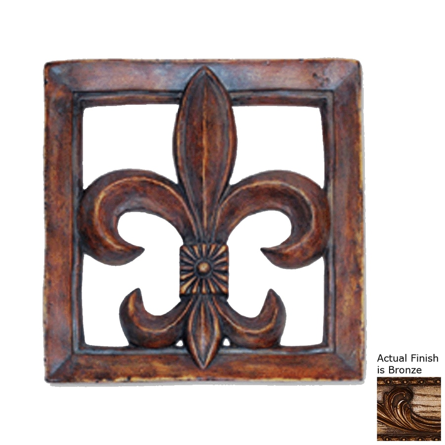 Hickory Manor House 15.5-in W x 15.5-in H Frameless Resin Fleur-De-Lis Tile 3D Wall Art