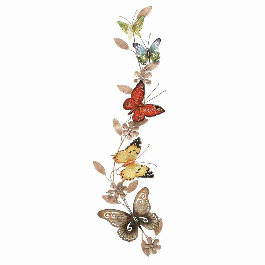 Woodland Imports 10-in W x 39-in H Frameless Metal Butterflies 3D Wall Art