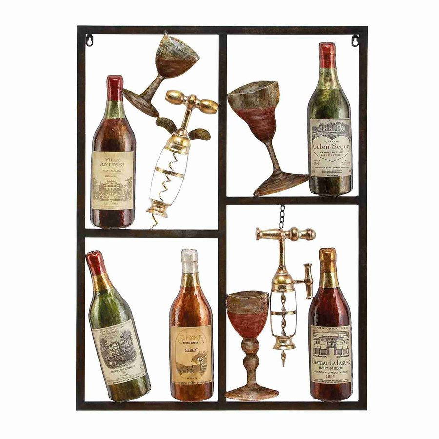 Woodland Imports 26-in W x 35-in H Frameless Metal Wine 3D Wall Art