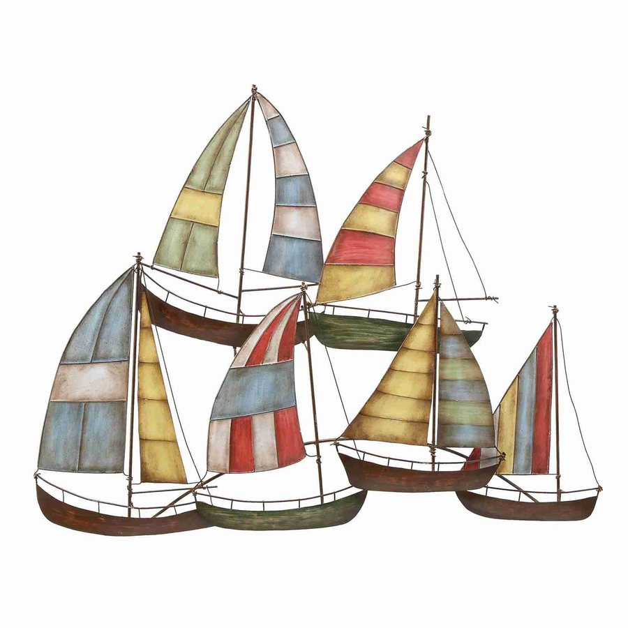 Woodland Imports 33-in W x 26-in H Frameless Metal Sailing Boats 3D Wall Art