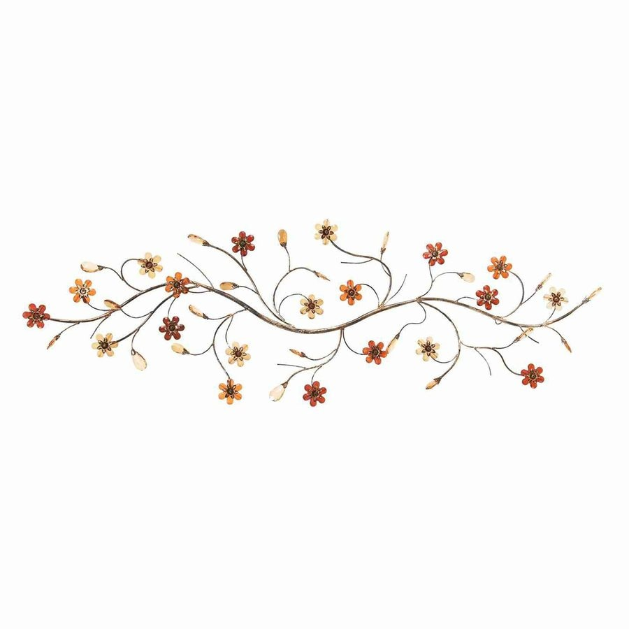 Woodland Imports 48-in W x 16-in H Frameless Metal Flowers 3D Wall Art