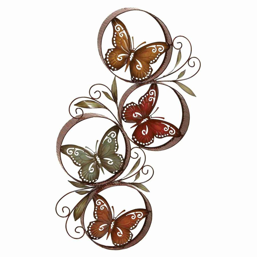 Woodland Imports 19-in W x 36-in H Frameless Metal Butterflies 3D Wall Art