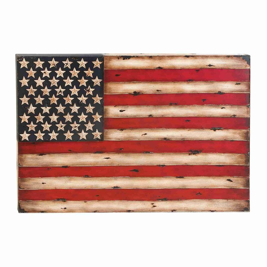Woodland Imports 38-in W x 26-in H Frameless Metal American Flag Print Wall Art