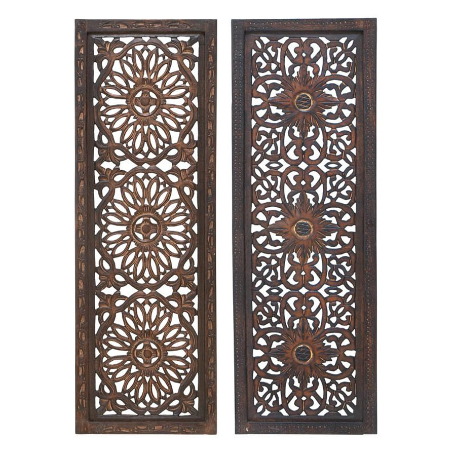 shop woodland imports 2 piece 12 in w x 36 in h framed wood abstract sculptural wall art at. Black Bedroom Furniture Sets. Home Design Ideas
