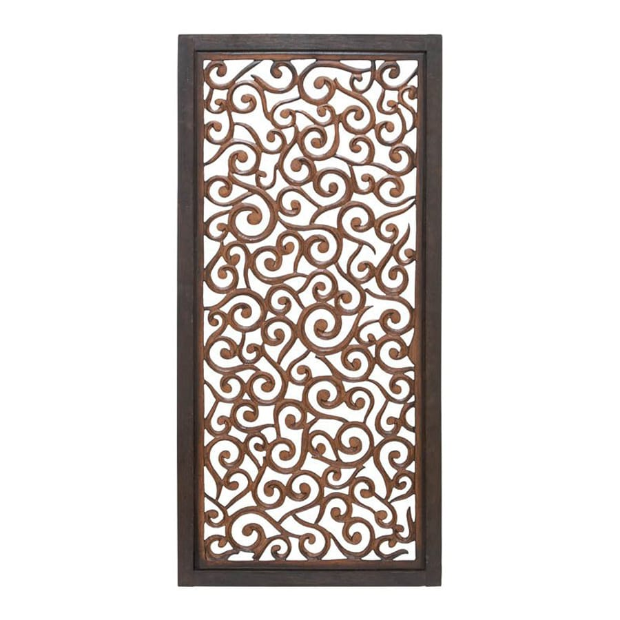 Woodland Imports 24-in W x 51-in H Framed Wood Abstract Sculptural Wall Art