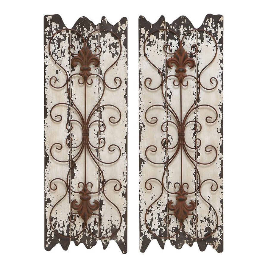 Woodland Imports 2-Piece 11-in W x 32-in H Frameless Wood Abstract Sculptural Wall Art