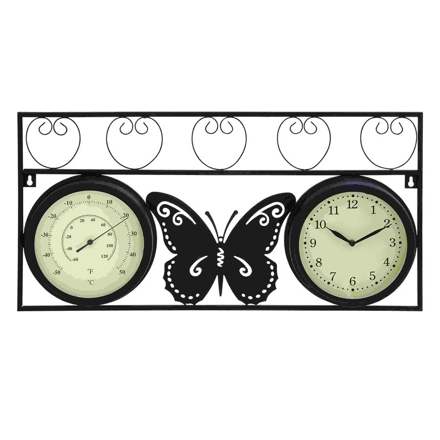 Woodland Imports Analog Rectangle Indoor Wall Standard Clock with Thermometer